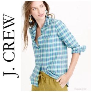 J. Crew - Boy Shirt in Blue + Green Plaid size (8)